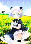 androgynous animal_ears black_dress black_neckwear blue_eyes blue_hair blue_sky blush bow bowtie cat_ears cat_tail cloud cowboy_shot crona_(soul_eater) day dress field fingernails flower flower_field frilled_dress frills gradient_hair green_hair groin hair_flower hair_ornament holding holding_flower multicolored_hair no_panties outdoors parted_lips photo_background puffy_short_sleeves puffy_sleeves purple_hair sakurazawa_izumi short_hair short_sleeves sky solo soul_eater standing tail tears yellow_flower