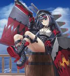 1girl ark_john_up armband azur_lane bangs barrel black_hair black_skirt blue_sky boots cloud collar commentary dated deutschland_(azur_lane) english_commentary eyebrows_visible_through_hair goggles goggles_on_headwear gun hat high_heel_boots high_heels holding holding_gun holding_weapon iron_cross knee_boots long_hair long_sleeves looking_at_viewer mechanical_hands military_hat multicolored_hair ocean platform_boots railing rigging sharp_teeth signature sitting sitting_on_object skirt sky smile solo streaked_hair teeth thigh_strap very_long_hair weapon