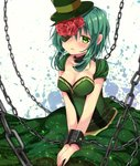 1girl blush breasts chain chained cleavage collarbone dress eyepatch flower frown green_dress green_eyes green_hair green_hat gumi hair_flower hair_ornament hands_on_lap hands_together hat highres kasane_(cynthia) looking_at_viewer medium_breasts medium_hair open_mouth red_flower red_rose rose solo vocaloid