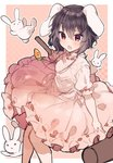 1girl animal animal_ears bangs black_hair blush bunny bunny_ears bunny_girl carrot_necklace chestnut_mouth dress ears_down feet_out_of_frame hair_between_eyes holding_mallet ikeuchi_tanuma inaba_tewi looking_at_viewer mallet medium_hair open_mouth pink_background pink_dress puffy_short_sleeves puffy_sleeves red_eyes ribbon-trimmed_skirt ribbon_trim short_sleeves sketch solo_focus touhou