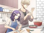 1boy 1girl apron blonde_hair blue_eyes cabinet carrot counter cutting_board drawer glasses holding holding_knife indoors knife ladle medium_hair morioka_moriko netojuu_no_susume purple_hair red-framed_eyewear sakurai_yuuta salt skillet spatula standing stove sweatdrop tancoarc teapot tongs wavy_mouth