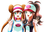2girls absurdres bow brown_hair double_bun genjuu_hirata green_eyes hat high_ponytail highres mei_(pokemon) multiple_girls open_hand open_mouth pokemon pokemon_(game) pokemon_bw pokemon_bw2 sidelocks smile touko_(pokemon) twintails upper_body