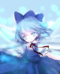 1girl bangs blue_dress blue_eyes blue_hair blue_ribbon cirno collared_shirt dress frilled_sleeves frills hair_ribbon highres himemurasaki ice ice_wings looking_at_viewer red_ribbon ribbon short_hair smile snowing solo touhou wings