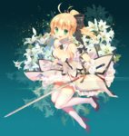 1girl artoria_pendragon_(all) bare_shoulders blonde_hair blush bow breasts commentary dress fate/unlimited_codes fate_(series) gloves green_eyes hair_bow high_heels holding holding_sword holding_weapon long_hair looking_at_viewer medium_breasts mintchoco_(orange_shabette) open_mouth saber saber_lily simple_background solo strapless strapless_dress sword thighhighs weapon white_dress white_gloves white_legwear zettai_ryouiki