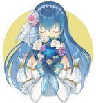 1girl bare_shoulders blue_eyes blue_hair bouquet bride dress elbow_gloves fire_emblem fire_emblem:_monshou_no_nazo fire_emblem_heroes flower formal gloves kyufe long_hair rose sheeda simple_background solo strapless strapless_dress tiara veil wedding wedding_dress white_dress white_flower white_gloves