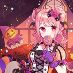 1girl :q alternate_hairstyle bang_dream! bangs bow candy candy_earrings candy_hair_ornament couch cross-laced_clothes curtains double_bun dress earrings food food_themed_hair_ornament frilled_sleeves frills gloves hair_ornament hair_ribbon halloween halloween_costume hat head_wings holding_lollipop jack-o'-lantern jack-o'-lantern_hair_ornament jewelry lollipop looking_at_viewer maruyama_aya medium_hair mismatched_legwear multicolored multicolored_clothes patzzi pink_eyes pink_hair pink_ribbon purple_bow purple_gloves red_ribbon ribbon short_sleeves sidelocks silk sitting solo spider_web star striped striped_legwear tongue tongue_out witch_hat