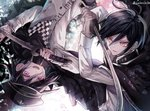 2boys @ ahoge artist_request black_hair black_headwear checkered checkered_scarf commentary_request danganronpa eyelashes grin hair_between_eyes hat holding holding_sword holding_weapon jacket katana long_sleeves looking_at_another male_focus multiple_boys new_danganronpa_v3 open_mouth ouma_kokichi pale_skin pink_eyes purple_hair saihara_shuuichi scarf school_uniform shirt short_hair smile straitjacket striped sword twitter_username upper_teeth weapon yellow_eyes z-epto_(chat-noir86)