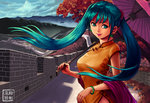 1girl aqua_hair autumn_leaves bangle bangs battlement bracelet braid breasts brick_wall china china_dress chinese_clothes commentary day defensive_wall dress earrings english_commentary floating_hair flower great_wall_of_china green_eyes green_hair hair_flower hair_ornament hatsune_miku highres holding holding_umbrella jewelry lipstick long_hair looking_at_viewer makeup making_of mascara medium_breasts mountain nail_polish oriental_umbrella outdoors pink_lipstick red_nails ryu_shou shadow shawl side_braid signature sky sleeveless sleeveless_dress smile solo sunlight tree twintails umbrella vocaloid wall wind