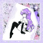 1girl bangs bare_shoulders black_legwear breasts closed_mouth commentary doily dragon_half elbow_gloves floral_print frame fur_trim gloves hair_between_eyes heart heart_print highres inktober lavender_hair limited_palette long_hair looking_back marker marker_(medium) medium_breasts partially_colored purple_hair shiny shiny_hair sitting solo sparkle thighhighs traditional_media veena_(dragon_half) wavy_hair zambi