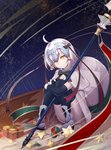 absurdres ahoge bag bell black_legwear bow breasts capelet cleavage detached_sleeves eyebrows_visible_through_hair fate/grand_order fate_(series) full_body fur_trim gift_bag hair_bow head_tilt highres holding holding_weapon jeanne_d'arc_(fate)_(all) jeanne_d'arc_alter_santa_lily polearm short_hair silver_hair sitting small_breasts smile thighhighs weapon white_capelet xie_wang yellow_eyes