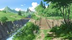 absurdres akasa_tanaha_(user_uhrn4435) blue_sky bush cloud commentary_request day field flower forest grass highres house mountain nature no_humans original outdoors path plant river road rock scenery shadow sign sky tree water wooden_bridge