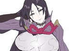 armor bangs bodysuit breasts commentary_request fate/grand_order fate_(series) fingerless_gloves gloves hand_in_hair japanese_armor large_breasts long_hair looking_at_viewer minamoto_no_raikou_(fate/grand_order) npn parted_bangs purple_bodysuit purple_eyes purple_hair ribbed_sleeves rope smile upper_body very_long_hair