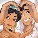 1boy 1girl aladdin_(character) aladdin_(disney) ano_(sbee) black_hair brown_eyes close-up couple dark_skin diadem disney earrings eyelashes face fingernails grey_background hands happy hat heart heart_hands hetero jasmine_(disney) jewelry lipstick long_hair long_sleeves looking_at_viewer makeup necklace shirt simple_background smile standing white_shirt