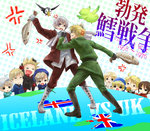 6+boys ahoge america_(hetalia) anger_vein axis_powers_hetalia bear bird blonde_hair boots brown_hair canada_(hetalia) chibi cod commentary denmark_(hetalia) fighting finland_(hetalia) fish food full_body green_eyes grin hamburger hat historical_event hong_kong_(hetalia) iceland_(hetalia) icelandic_flag ishizue_ei kumajirou_(hetalia) male_focus military military_uniform multiple_boys norway_(hetalia) open_mouth puffin purple_eyes sailor sealand_(hetalia) smile sweat sweden_(hetalia) uniform union_jack united_kingdom_(hetalia)