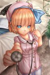 1girl alice_margatroid alice_margatroid_(pc-98) alternate_costume bangs beret blonde_hair blue_eyes blue_hairband blurry blurry_background bow cat closed_mouth collared_dress commentary_request cowboy_shot day depth_of_field dress eyebrows_visible_through_hair foreshortening futon hairband hat hat_bow highres holding ivy looking_at_viewer outdoors pantyhose pink_dress pink_headwear plant short_dress short_hair short_sleeves shounen_(hogehoge) smile solo standing stethoscope sweatdrop touhou touhou_(pc-98) white_legwear