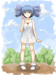 1girl alternate_costume alternate_hairstyle bare_arms blue_eyes blue_hair blue_sky candy cirno cloud collarbone day dress food hair_ribbon highres ice ice_wings lollipop looking_at_viewer ribbon shone sky sleeveless sleeveless_dress solo touhou white_dress wings