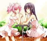 2girls akemi_homura bare_shoulders black_hair bow brick_wall chin_rest commentary dress grin hair_bow hairband interlocked_fingers kaname_madoka long_hair mahou_shoujo_madoka_magica multiple_girls nightlight0909 pink_eyes pink_hair plant purple_eyes short_twintails sleeveless sleeveless_dress smile twintails white_bow white_dress white_hairband