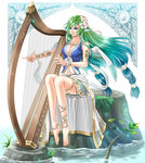 1girl angel_wings ankle_lace-up anklet armlet bare_legs barefoot blue_eyes blue_hair bracelet cross-laced_footwear dress flower gradient_hair green_hair hair_flower hair_ornament harp instrument jewelry kuzuboshi_hikaru light_particles long_hair midriff multicolored_hair music nature navel necklace original playing_instrument sitting skirt tied_hair tree_stump very_long_hair water wings