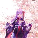 1girl :d bangs bb_(fate)_(all) bb_(fate/extra_ccc) blurry blush bow cherry_blossoms commentary cowboy_shot day depth_of_field eyebrows_visible_through_hair fate/grand_order fate_(series) floral_print hakama japanese_clothes kimono long_hair long_sleeves looking_at_viewer open_mouth outdoors pink_bow print_kimono purple_eyes purple_hair purple_hakama purple_kimono round_teeth shutsuri sleeves_past_wrists smile solo spring_(season) teeth tree twitter_username upper_teeth very_long_hair wide_sleeves
