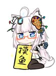 1girl ahoge animal_ears bailingxiao_jiu bangs bell black_bow black_legwear blue_eyes blue_ribbon blush bow braid canvas_(object) chibi eyebrows_visible_through_hair fox_mask full_body glasses glowing hair_bell hair_bow hair_ornament hair_ribbon heart heart-shaped_pupils holding holding_sign jingle_bell lantern long_hair looking_at_viewer mask no_shoes original paintbrush parted_lips red-framed_eyewear ribbon semi-rimless_eyewear sidelocks sign silver_hair simple_background sitting solo sparkle symbol-shaped_pupils tail thighhighs translation_request under-rim_eyewear very_long_hair wariza white_background wolf_ears wolf_girl wolf_tail
