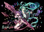 2girls absurdly_long_hair aqua_hair boots commentary_request detached_sleeves full_body green_eyes hatsune_miku headset high_heels kai-ri-sei_million_arthur knee_boots long_hair microphone mintchoco_(orange_shabette) multiple_girls musical_note nail_polish necktie open_mouth piano_keys purple_hair red_eyes skirt thigh_boots thighhighs twintails very_long_hair vocaloid