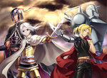 4boys absurdres ahoge alphonse_elric armor arslan arslan_senki belt black_pants black_shirt blonde_hair blue_eyes brown_gloves chain cowboy_shot creator_connection daryoon edward_elric full_armor full_body fullmetal_alchemist gloves hair_between_eyes helmet highres holding holding_sword holding_weapon looking_at_viewer mechanical_arm midriff multiple_boys outdoors pants ponytail shirt short_hair silence silver_hair spaulders standing stomach sword weapon yellow_eyes