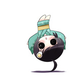 1girl ahoge araragi_tsukihi black_hair chibi fried_egg hair_ornament japanese_clothes kimono monogatari_(series) nisemonogatari prehensile_hair short_hair solid_circle_eyes solo upside-down yume_shokunin