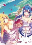 2girls ahoge armpit_crease bare_shoulders blonde_hair blue_eyes blue_hair blush bouquet braid braided_ponytail breasts bridal_veil character_request circlet cleavage closed_mouth collarbone commentary_request dress earrings elbow_gloves elf endenburg_no_hanayome eyebrows_visible_through_hair eyeliner flower frilled_dress frills from_above garter_straps gloves hair_between_eyes hair_flower hair_ornament high_heels holding holding_bouquet jewelry large_breasts layered_dress light_brown_eyes long_hair looking_at_viewer looking_up makeup monster_ears multiple_girls necklace novel_illustration official_art petals pointy_ears red_flower red_rose rose rose_petals side_slit sidelocks small_breasts smile standing strapless strapless_dress thighhighs veil very_long_hair wedding_dress white_dress white_flower white_rose yasumo_(kuusouorbital)