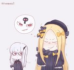 2girls :o abigail_williams_(fate/grand_order) bags_under_eyes bangs black_bow black_dress black_hat blonde_hair blush bow closed_mouth dress facing_viewer fate/grand_order fate_(series) grey_background grin hair_between_eyes hair_bow hat highres imagining lavinia_whateley_(fate/grand_order) long_hair long_sleeves looking_at_another looking_to_the_side multiple_girls nega-tive_otoko orange_bow parted_bangs parted_lips polka_dot polka_dot_bow red_eyes sharp_teeth silver_hair simple_background sleeves_past_fingers sleeves_past_wrists smile sweat teeth trembling twitter_username v-shaped_eyebrows very_long_hair