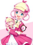 1girl :3 :d bangs blue_eyes blush bow character_doll deerstalker dress eyebrows_visible_through_hair hair_between_eyes hair_rings hat holding juliet_sleeves leaning_to_the_side long_hair long_sleeves magnifying_glass mugi_(iccomae) object_hug open_mouth pink_background pink_bow pink_dress pink_hair pink_hat plaid_hat puffy_sleeves round_teeth sherlock_shellingford sidelocks smile solid_circle_eyes solo tantei_opera_milky_holmes teeth two-tone_background upper_teeth white_background