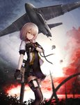 1girl aircraft airplane bomb bomber cargo_aircraft chinese_commentary cloud cloudy_sky commentary_request explosion fire forest girls_frontline gun highres kriss_vector military military_vehicle nature parachute shumeia sky smoke solo submachine_gun suppressor vector_(girls_frontline) weapon