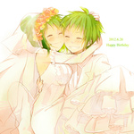 1boy 1girl bare_shoulders blush dated dress elbow_gloves flower genderswap gloves green_eyes green_hair gumi gumiya hair_flower hair_ornament happy_birthday holding hug niji_(apricotxx) short_hair simple_background smile veil vocaloid wedding_dress white_dress