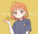 1girl ahoge bangs black_shirt blush blush_stickers bow braid clover_hair_ornament commentary_request food fruit hair_bow hair_ornament hand_up holding holding_food holding_fruit looking_at_viewer love_live! love_live!_sunshine!! mandarin_orange orange_hair orange_print red_eyes shirt short_hair short_sleeves side_braid smile solo t-shirt takami_chika upper_body yashino_84 yellow_background yellow_bow