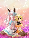 2girls animal_ears aruyamano_heidi bad_id bad_pixiv_id blonde_hair blue_eyes bow bowtie brown_eyes bunny_ears dress hair_ornament jewelry leggings long_hair multiple_girls necklace outstretched_hand personification pink_hair pokemon pokemon_(game) raichu shoes short_hair sitting sweatshirt thighhighs wigglytuff wristband yellow_footwear
