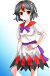 1girl black_hair bow bowtie dress hand_on_hip highres horns kijin_seija looking_at_viewer mono_(moiky) multicolored_hair print_dress puffy_short_sleeves puffy_sleeves red_eyes sash short_hair short_sleeves solo streaked_hair touhou