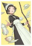 1girl apron back_bow black_dress black_hair bow breasts broom brown_eyes commentary_request cup dress grin holding holding_broom large_bow long_hair maid_headdress mogumo original pouring saucer small_breasts smile solo standing tea teacup teapot waist_apron white_background yellow_background