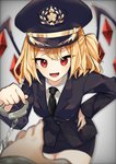 1girl :d alternate_costume bangs black_headwear black_jacket black_neckwear black_skirt blazer blonde_hair breasts commentary_request cowboy_shot crystal cuffs fangs flandre_scarlet gradient gradient_background grey_background hand_on_hip handcuffs hat highres holding jacket leaning_forward long_sleeves looking_at_viewer mi-ko_(meeco35) miniskirt necktie one_side_up open_mouth peaked_cap pencil_skirt pov red_eyes short_hair skirt small_breasts smile solo_focus standing thighs touhou wings