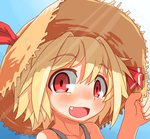 1girl blonde_hair fang hair_ribbon hat hecchi_(blanch) open_mouth red_eyes ribbon rumia short_hair smile solo touhou