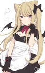 1girl amashiro_natsuki animal_ears apron bad_id bad_twitter_id bangs bat_wings black_bow black_dress black_gloves black_wings blonde_hair blush bow breasts cat_ears cleavage closed_mouth commentary_request dress dutch_angle eyebrows_visible_through_hair gloves hair_between_eyes hair_bow hair_ornament hand_up highres light_brown_hair long_hair mini_wings original puffy_short_sleeves puffy_sleeves purple_eyes short_sleeves simple_background small_breasts solo twintails very_long_hair waist_apron white_apron white_background wings x_hair_ornament