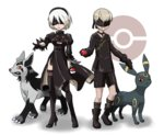1boy 1girl android bangs belt belt_buckle black_belt black_dress black_feathers black_footwear black_gloves black_hairband black_legwear black_ribbon black_shirt black_shorts blindfold boots breasts buckle choker claws cleavage_cutout crossover double-breasted dress feather-trimmed_sleeves feather_trim feathers full_body gloves green_belt grin hair_between_eyes hairband high_heel_boots high_heels highres holding holding_poke_ball kneehighs legs_apart long_sleeves medium_breasts mightyena mole mole_under_mouth nier_(series) nier_automata official_style outstretched_arm outstretched_hand paws poke_ball pokemon pokemon_(creature) pokemon_(game) puffy_long_sleeves puffy_sleeves red_eyes ribbon shadow sharp_teeth shirt shoes short_hair shorts side_slit simple_background smile standing teeth teru_zeta thigh_boots thighhighs turtleneck umbreon white_background white_hair yellow_sclera yorha_no._2_type_b yorha_no._9_type_s zettai_ryouiki