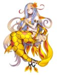 1girl armlet bangs bare_shoulders bikini_skirt bikini_top blonde_hair blue_eyes blue_hair blush commentary elbow_gloves eyebrows eyebrows_visible_through_hair flower gen_3_pokemon gloves hair_between_eyes hair_flower hair_ornament highres humanization jewelry katagiri_hachigou knees long_hair looking_at_viewer mermaid milotic miniskirt monster_girl multicolored_hair navel necklace parted_lips pearl personification pleated_skirt pokemon pokemon_(creature) scales simple_background skirt solo stomach very_long_hair white_background