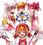 4girls :o aiai_(hidetti) bad_id bad_pixiv_id blush bow brown_hair bubble_skirt cardcaptor_sakura choker commentary_request cropped_jacket crossover elbow_gloves fate/kaleid_liner_prisma_illya fate_(series) feathers fuuin_no_tsue gloves green_eyes hair_feathers hair_ribbon hand_on_own_chest hat highres illyasviel_von_einzbern kaleidostick kaname_madoka kinomoto_sakura looking_down lyrical_nanoha magical_girl magical_ruby mahou_shoujo_lyrical_nanoha mahou_shoujo_lyrical_nanoha_the_movie_1st mahou_shoujo_madoka_magica multiple_crossover multiple_girls no_gloves pink_eyes pink_hair prisma_illya purple_eyes red_bow red_eyes red_hair ribbon short_hair silver_hair skirt tail takamachi_nanoha trait_connection twintails wand wavy_mouth white_gloves wings