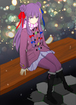 1girl alternate_costume bench boots coat contemporary crescent crescent_hair_ornament double_bun frown hair_ornament hair_ribbon kamiyo_jookoo long_hair pantyhose patchouli_knowledge pleated_skirt purple_eyes purple_hair purple_legwear ribbon scarf skirt solo touhou