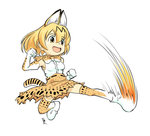 1girl :d animal_ears animal_print bangs bare_shoulders black_hair blonde_hair bow bowtie breasts clenched_hands commentary_request full_body gai_(final_fight) gloves high-waist_skirt kemono_friends kicking martial_arts motion_blur multicolored multicolored_clothes multicolored_gloves multicolored_hair multicolored_neckwear natsuno_(natsu-no) open_mouth serval_(kemono_friends) serval_ears serval_print serval_tail shirt short_hair signature simple_background skirt sleeveless sleeveless_shirt small_breasts smile solo streaked_hair tail tareme thighhighs white_background white_shirt zettai_ryouiki