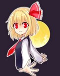 1girl ascot black_background blonde_hair bow collared_shirt foreshortening hair_bow looking_at_viewer moon outline outstretched_arms profile red_eyes rumia shirt short_hair sketch smile solo spread_arms touhou upper_body vest yada_(xxxadaman)