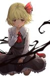 1girl ascot bangs black_skirt blonde_hair eyebrows_visible_through_hair finger_to_mouth frilled_skirt frills full_body kneeling lazuri7 long_sleeves looking_at_viewer red_eyes red_footwear red_neckwear rumia short_hair simple_background skirt smile solo touhou white_background white_sleeves