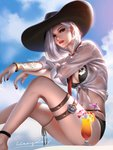 1girl anklet arm_tattoo ashe_(overwatch) bikini black_bikini black_nails blue_sky bracelet breasts cleavage cocktail_glass cocktail_umbrella commentary cowboy_hat cup drinking_glass earrings front-tie_top hat highres jewelry liang_xing looking_at_viewer nail_polish navel necktie overwatch red_neckwear shirt short_hair silver_hair skull_earrings skull_print sky smile solo stomach sunlight swimsuit tattoo thigh_strap thighlet wet wet_clothes wet_shirt