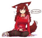 1girl alternate_costume animal_ears brooch brown_hair commentary dress duplicate english english_commentary eyebrows_visible_through_hair flip-flops full_body imaizumi_kagerou jewelry long_hair long_sleeves looking_at_viewer monster_girl red_eyes sandals simple_background sitting smile solo sweater sweater_dress tail touhou white_background white_footwear wide_sleeves wolf_ears wolf_tail wool_(miwol) yokozuwari