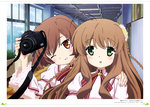 2girls absurdres ahoge brown_hair eyebrows_visible_through_hair flower green_eyes grin hair_flower hair_ornament hand_on_another's_shoulder head_tilt highres holding indoors inoue_(rewrite) kanbe_kotori long_hair looking_at_viewer matsui_riwako multiple_girls neck_ribbon one_eye_closed open_mouth red_ribbon rewrite ribbon school short_hair smile sunflower sweatdrop
