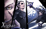 1boy bad_id bad_pixiv_id black_coat_(kingdom_hearts) black_hair character_name cloak eyepatch gloves grey_hair jagame_(jagamo) kingdom_hearts long_hair male_focus multicolored_hair pointy_ears ponytail scar two-tone_hair xigbar yellow_eyes